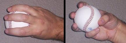 Baseball : prise type changeup 3 doigts